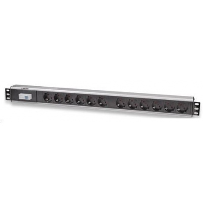 Intellinet Vertical Rackmount 12-Way Power Strip - German Type, rozvodný panel, 12x DE zásuvka, 1.6m kabel